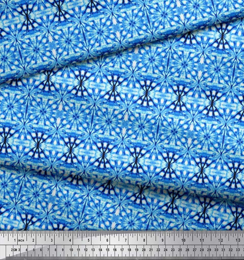 Soimoi-Blue-Cotton-Poplin-Fabric-Geometric-Tie-Dye-Decor-Fabric-IkY thumbnail 3
