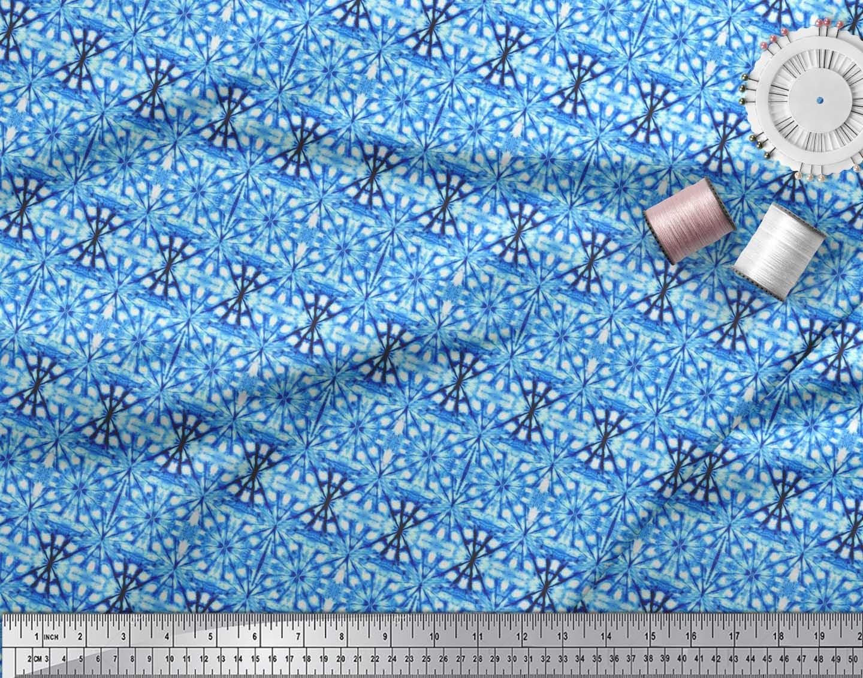 Soimoi-Blue-Cotton-Poplin-Fabric-Geometric-Tie-Dye-Decor-Fabric-IkY thumbnail 4