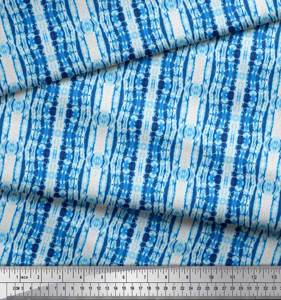 Soimoi-Blue-Cotton-Poplin-Fabric-Ombre-Tie-Dye-Print-Fabric-by-the-Kt4 thumbnail 3