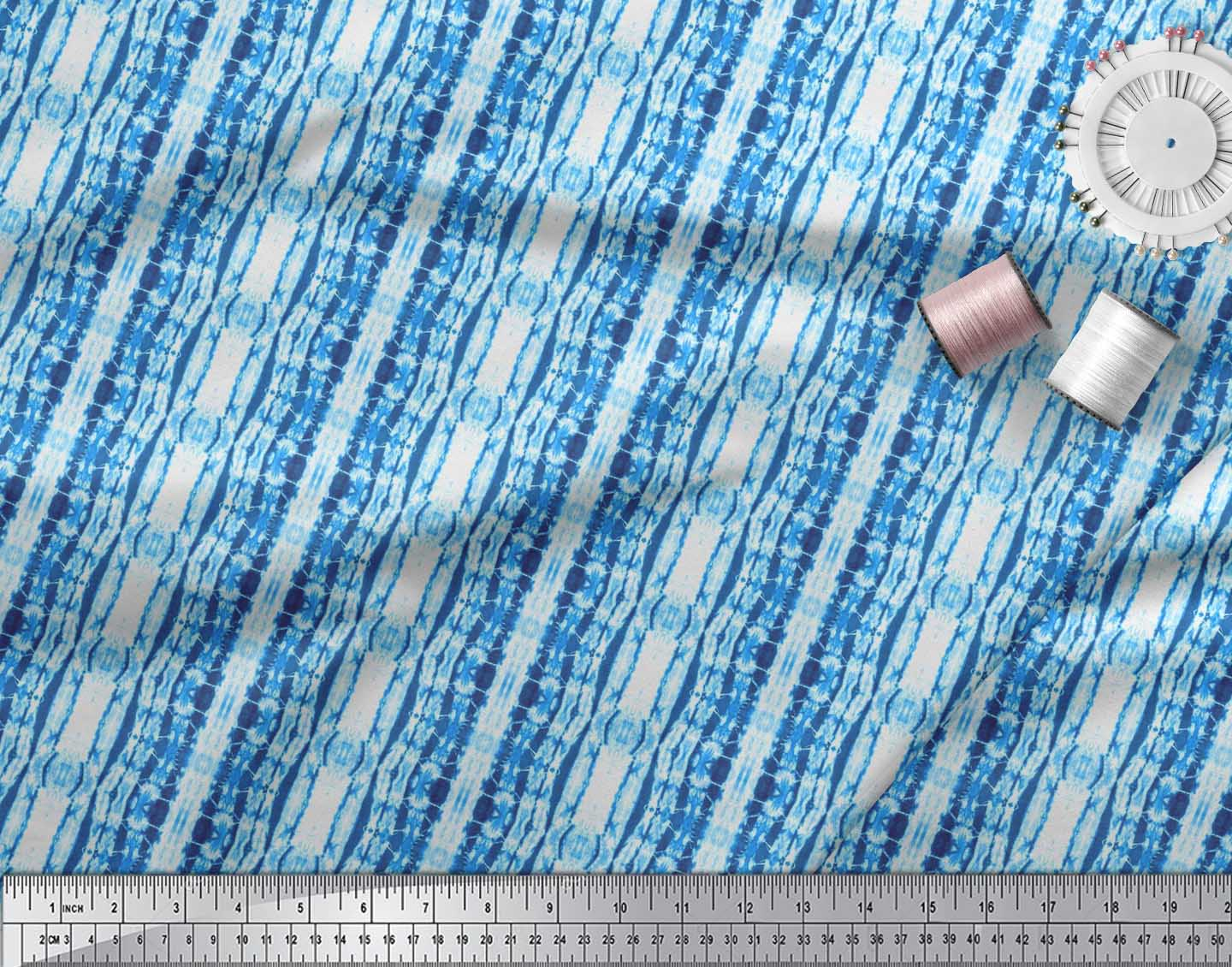 Soimoi-Blue-Cotton-Poplin-Fabric-Ombre-Tie-Dye-Print-Fabric-by-the-Kt4 thumbnail 4