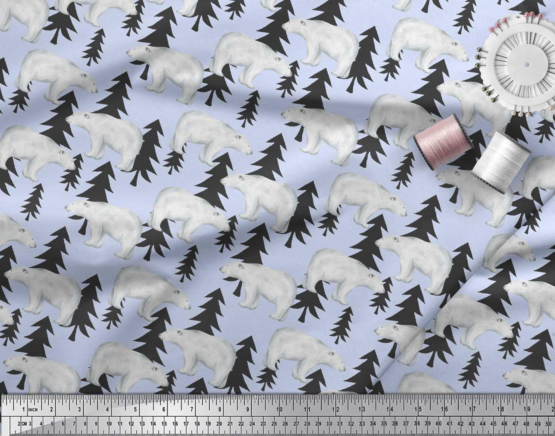 Soimoi-Blue-Cotton-Poplin-Fabric-Bear-Tree-Print-Fabric-by-the-metre-3Wz thumbnail 4