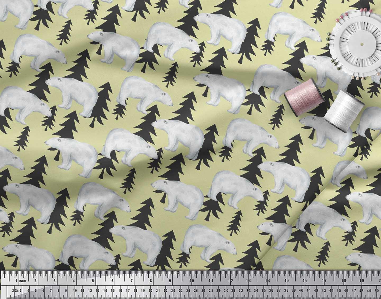 Soimoi-Beige-Cotton-Poplin-Fabric-Bear-Tree-Fabric-Prints-By-metre-TAV thumbnail 3