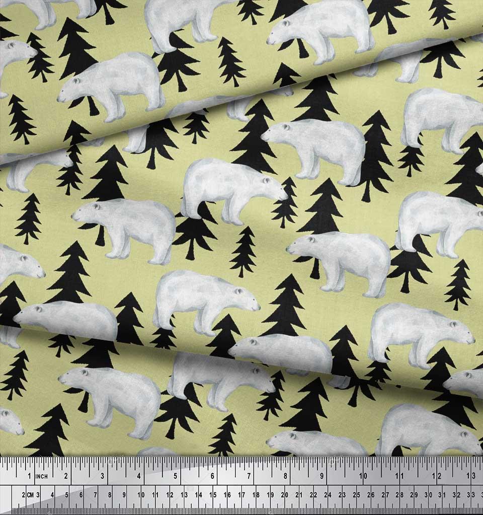 Soimoi-Beige-Cotton-Poplin-Fabric-Bear-Tree-Fabric-Prints-By-metre-TAV thumbnail 4