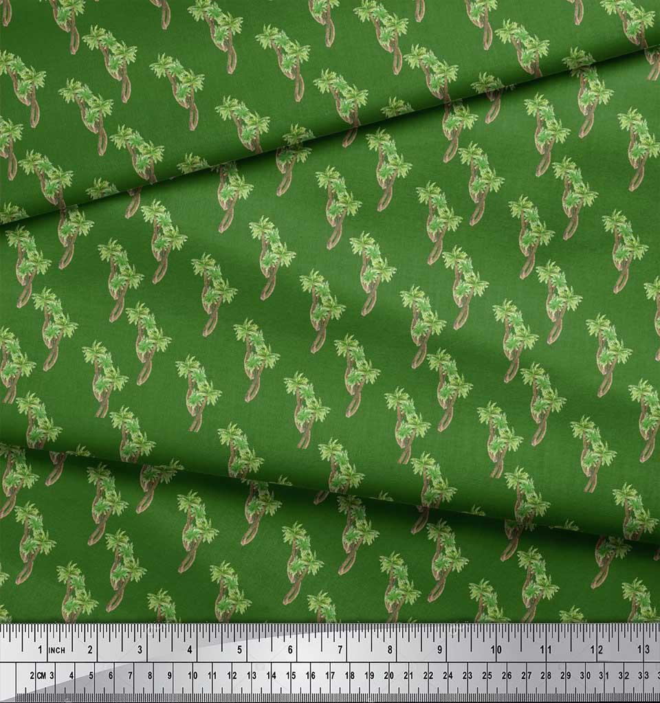 Soimoi-Green-Cotton-Poplin-Fabric-Palm-Tree-Printed-Craft-Fabric-fVn thumbnail 3