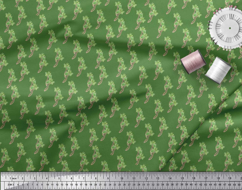 Soimoi-Green-Cotton-Poplin-Fabric-Palm-Tree-Printed-Craft-Fabric-fVn thumbnail 4
