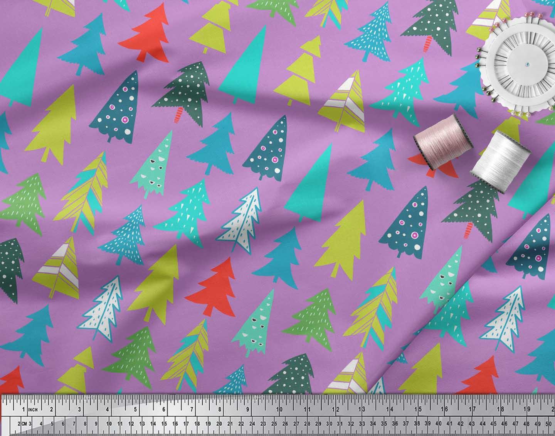 Soimoi-Purple-Cotton-Poplin-Fabric-Christmas-Tree-Decor-Fabric-Printed-GPQ thumbnail 3