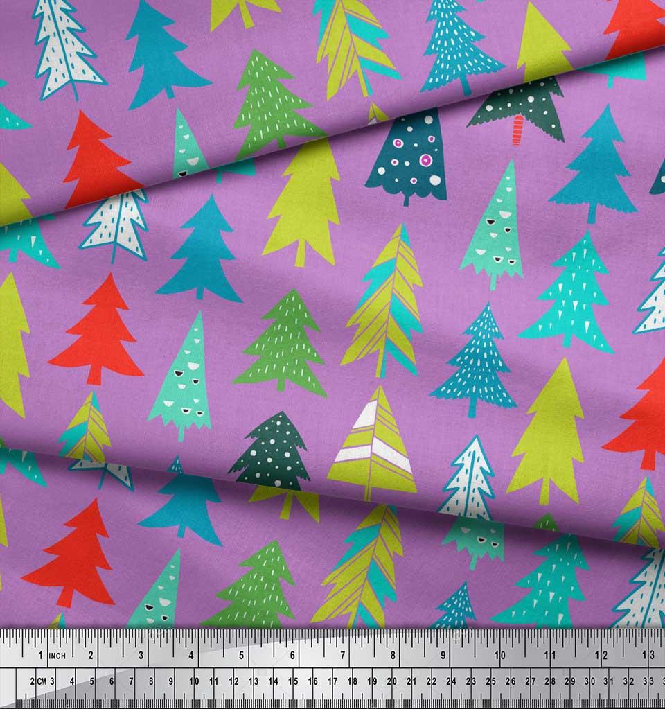 Soimoi-Purple-Cotton-Poplin-Fabric-Christmas-Tree-Decor-Fabric-Printed-GPQ thumbnail 4