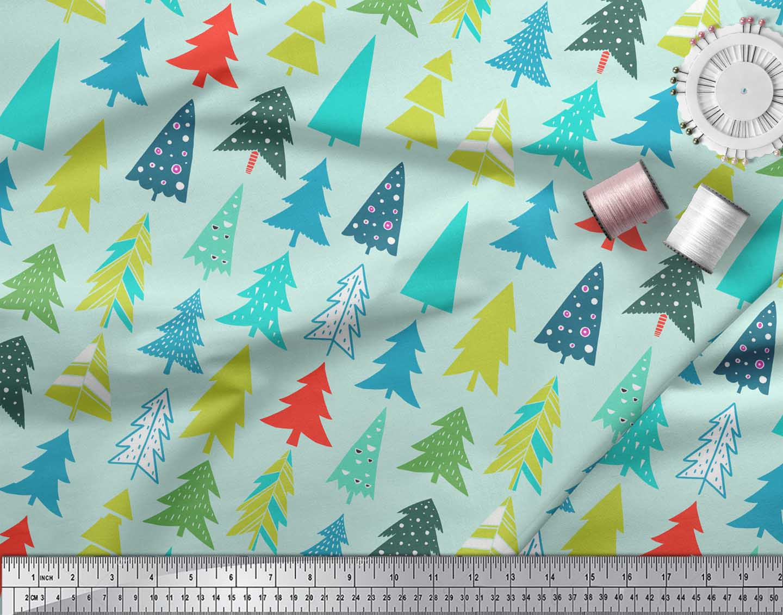 Soimoi-Green-Cotton-Poplin-Fabric-Christmas-Tree-Decor-Fabric-Printed-goD thumbnail 3