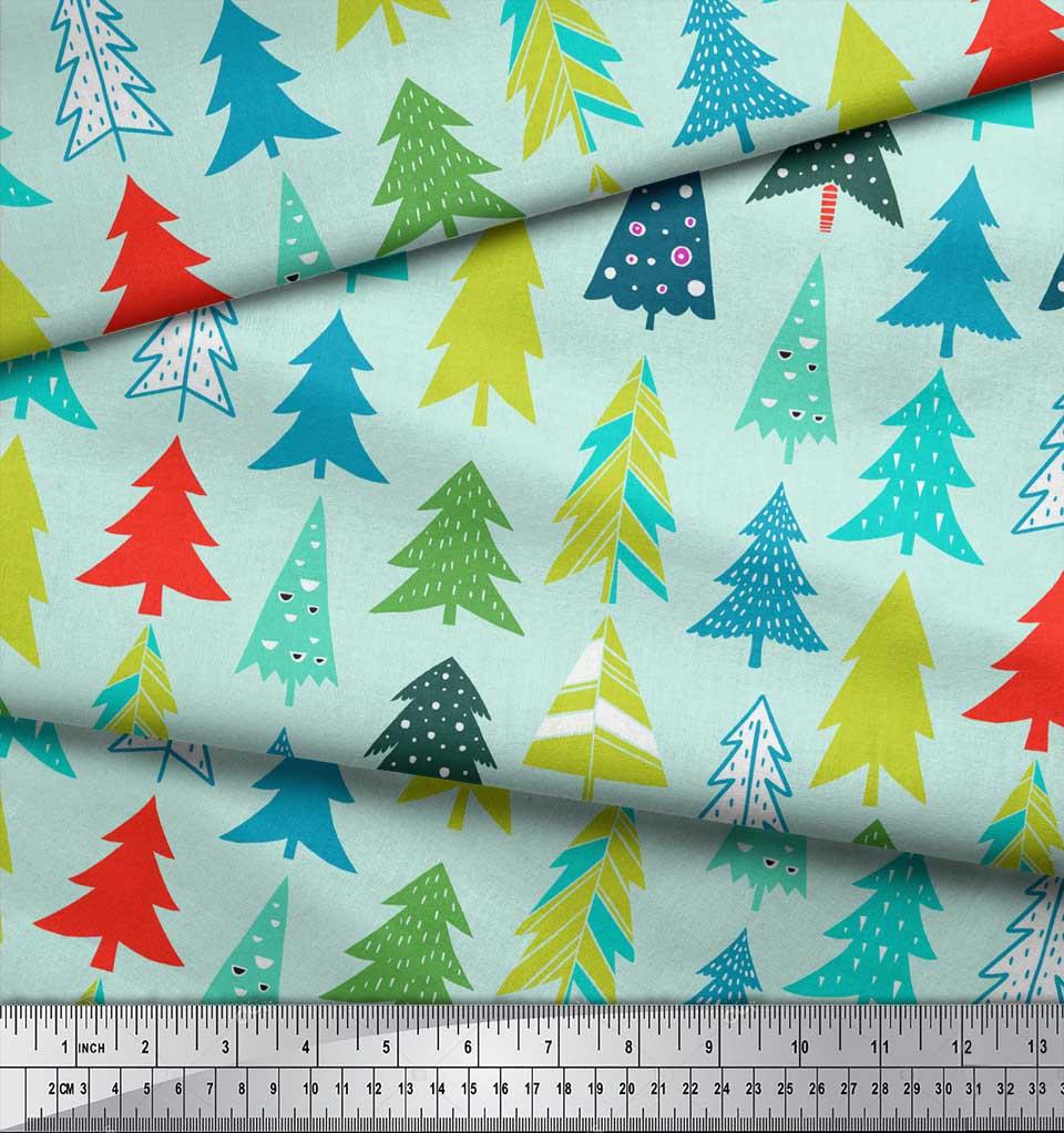 Soimoi-Green-Cotton-Poplin-Fabric-Christmas-Tree-Decor-Fabric-Printed-goD thumbnail 4
