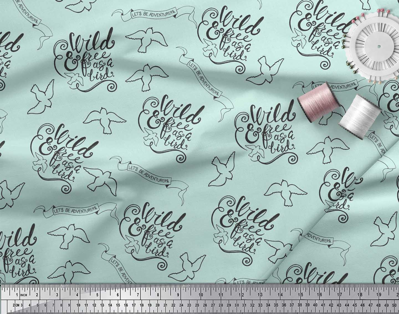 Soimoi-Green-Cotton-Poplin-Fabric-Text-amp-Bird-Tribal-Printed-Craft-p1A thumbnail 3