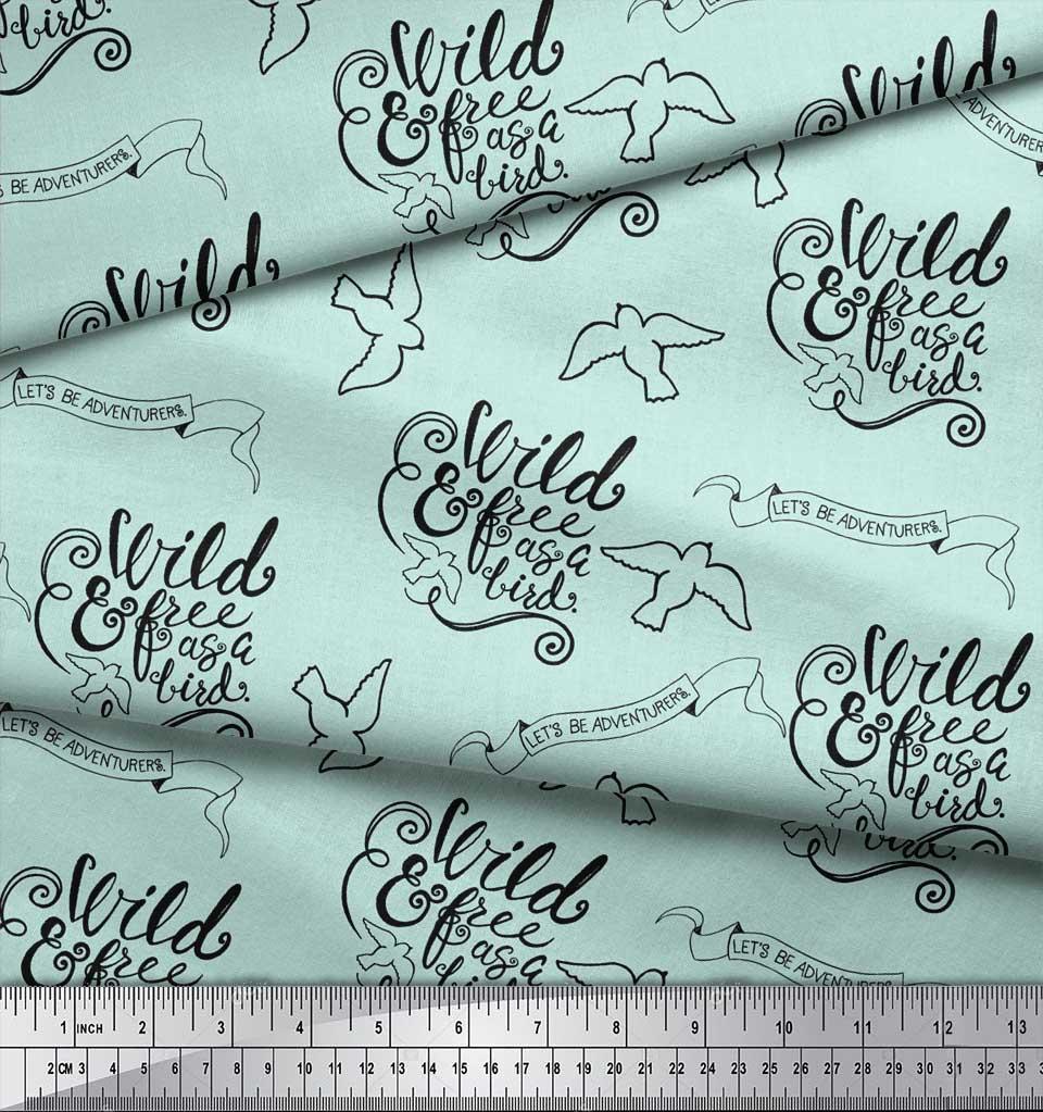 Soimoi-Green-Cotton-Poplin-Fabric-Text-amp-Bird-Tribal-Printed-Craft-p1A thumbnail 4