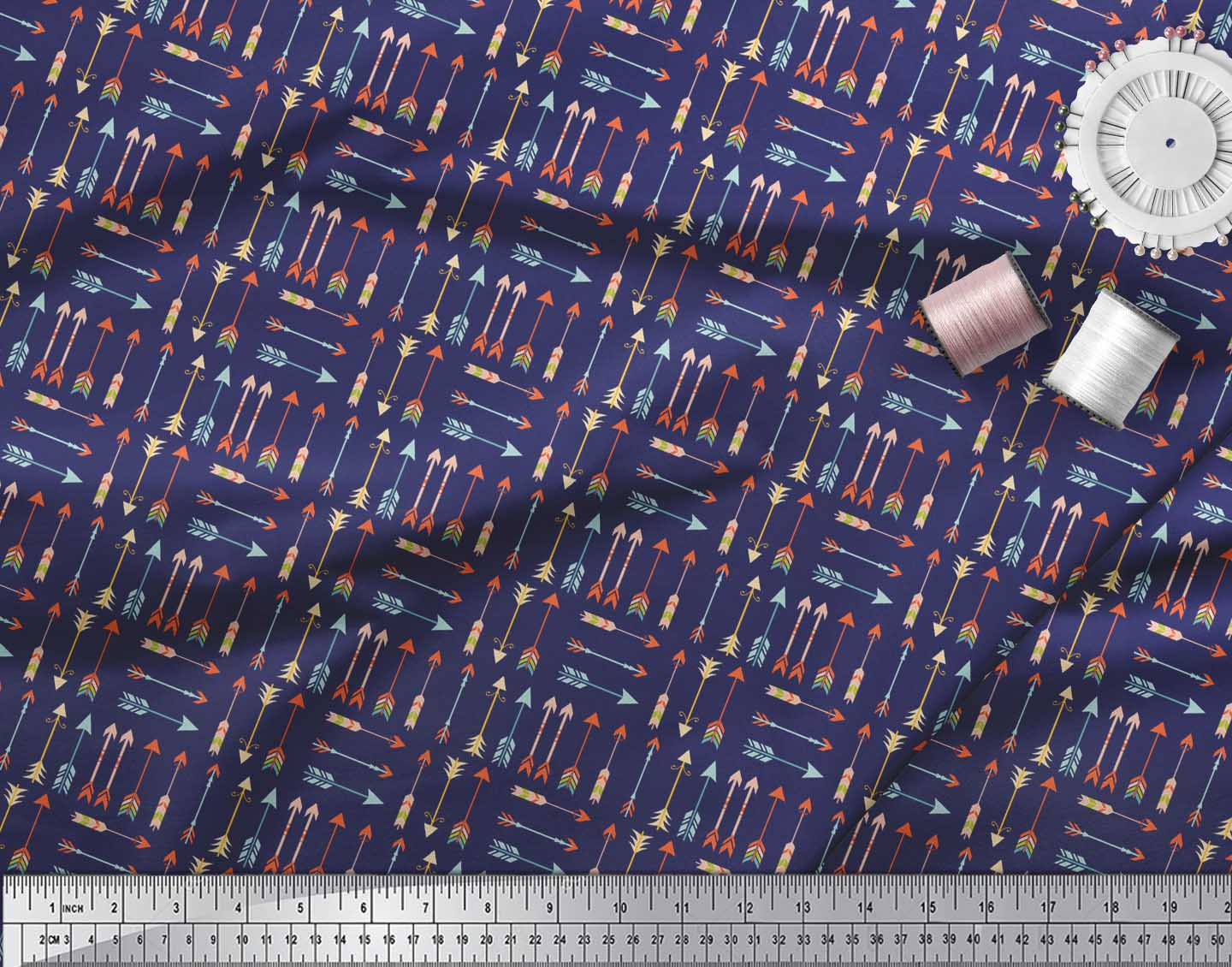Soimoi-Blue-Cotton-Poplin-Fabric-Arrow-Tribal-Print-Fabric-by-the-fQy thumbnail 3