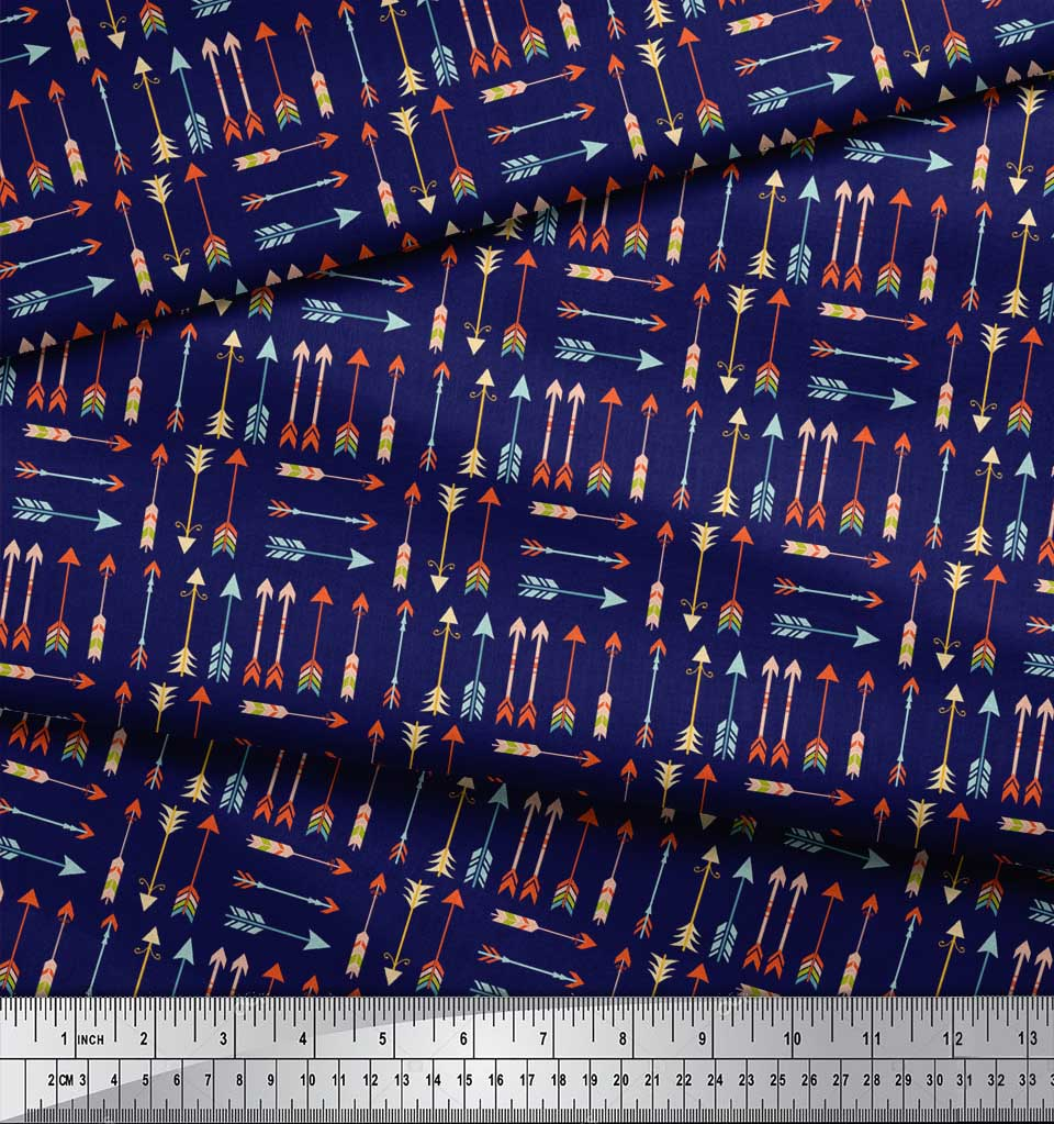 Soimoi-Blue-Cotton-Poplin-Fabric-Arrow-Tribal-Print-Fabric-by-the-fQy thumbnail 4