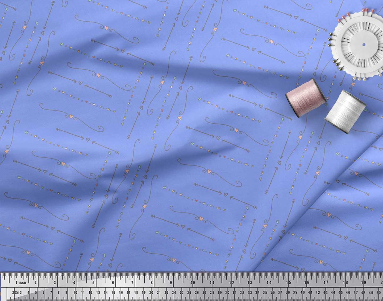 Soimoi-Blue-Cotton-Poplin-Fabric-Heart-amp-Arrow-Tribal-Printed-Fabric-gvf thumbnail 4