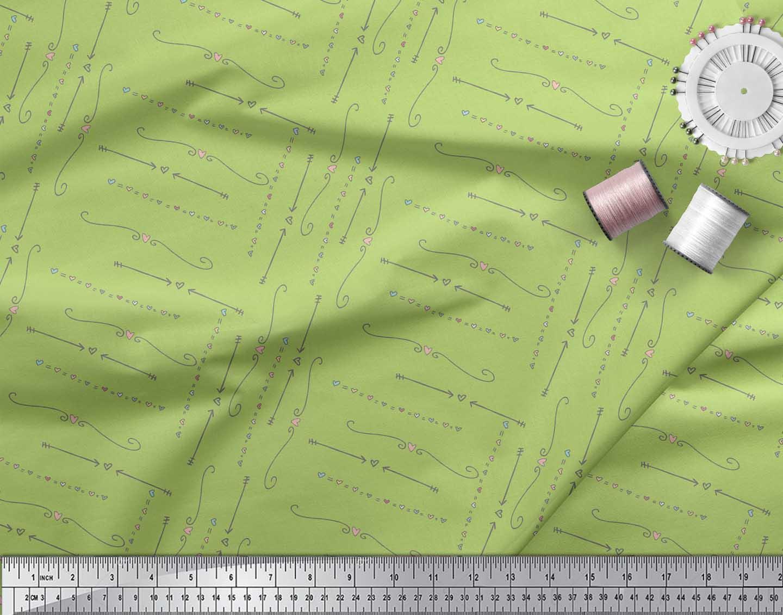 Soimoi-Green-Cotton-Poplin-Fabric-Heart-amp-Arrow-Tribal-Print-Sewing-9pz thumbnail 4