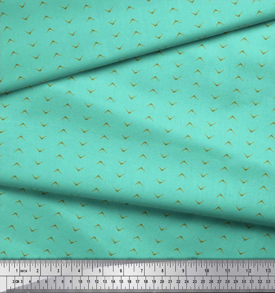 Soimoi-Green-Cotton-Poplin-Fabric-Geometric-Arrow-Tribal-Printed-zIE thumbnail 3