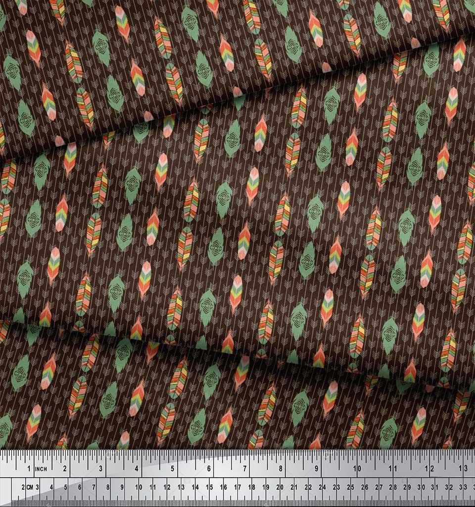 Soimoi-Brown-Cotton-Poplin-Fabric-Feathers-Tribal-Print-Fabric-by-yTS thumbnail 3