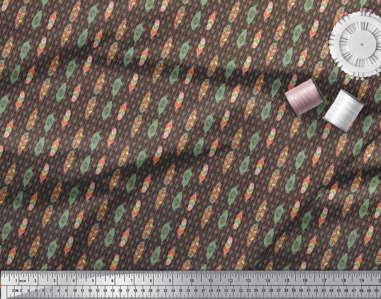Soimoi-Brown-Cotton-Poplin-Fabric-Feathers-Tribal-Print-Fabric-by-yTS thumbnail 4