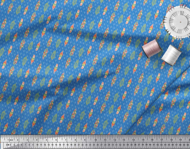 Soimoi-Blue-Cotton-Poplin-Fabric-Feathers-Tribal-Decor-Fabric-Printed-tjx thumbnail 3