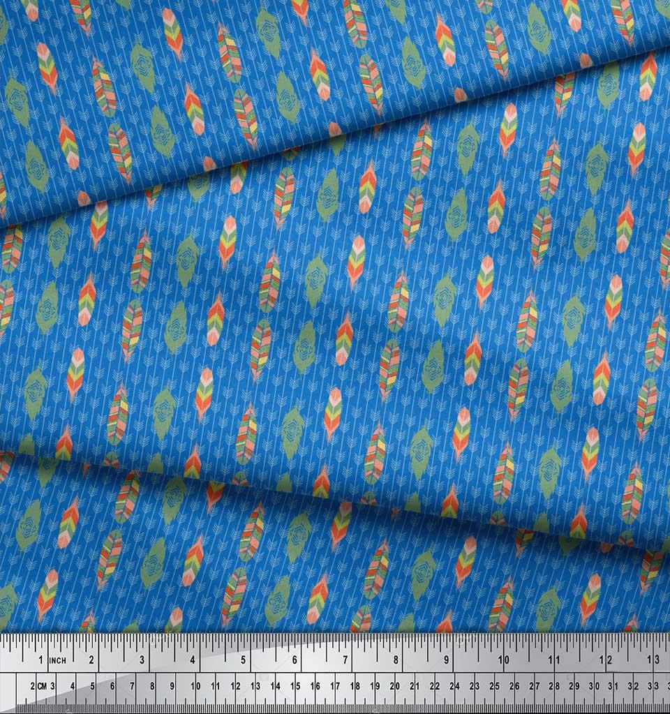 Soimoi-Blue-Cotton-Poplin-Fabric-Feathers-Tribal-Decor-Fabric-Printed-tjx thumbnail 4