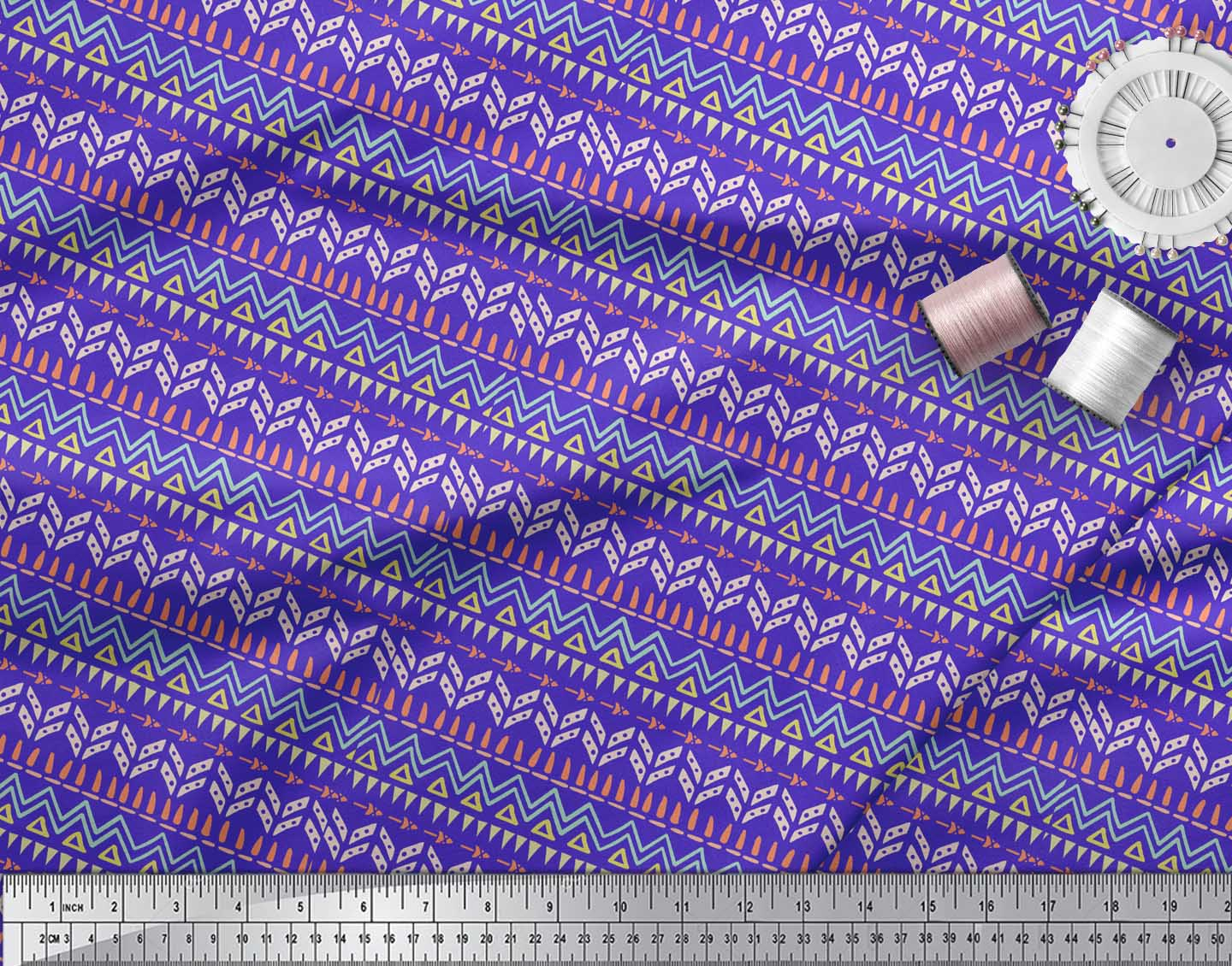 Soimoi-Blue-Cotton-Poplin-Fabric-Tent-Tribal-Fabric-Prints-By-metre-PFW thumbnail 3