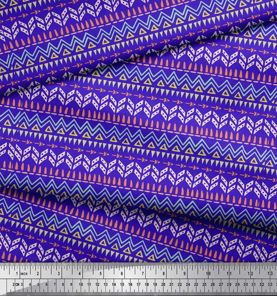 Soimoi-Blue-Cotton-Poplin-Fabric-Tent-Tribal-Fabric-Prints-By-metre-PFW thumbnail 4