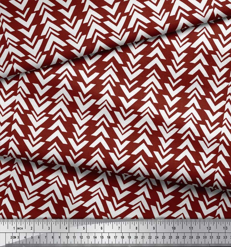 Soimoi-Red-Cotton-Poplin-Fabric-Geometric-Arrow-Tribal-Print-Fabric-VFa thumbnail 4