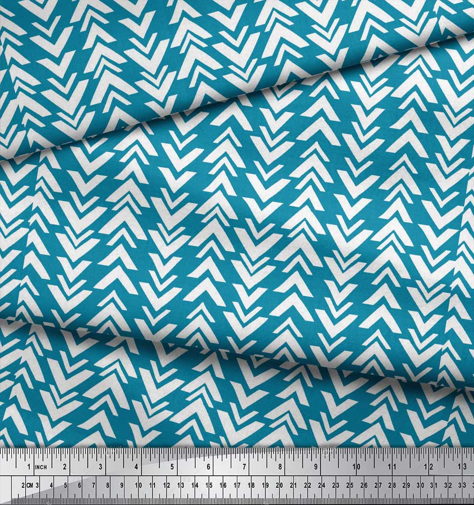 Soimoi-Blue-Cotton-Poplin-Fabric-Geometric-Arrow-Tribal-Print-Sewing-yMX thumbnail 4