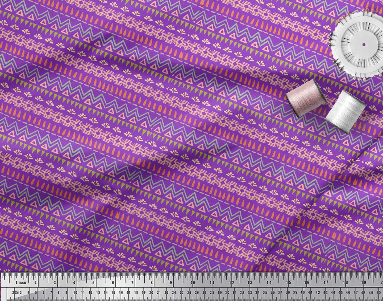 Soimoi-Purple-Cotton-Poplin-Fabric-Tent-Tribal-Printed-Craft-Fabric-aYA thumbnail 4