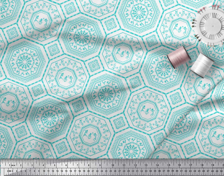 Soimoi-Green-Cotton-Poplin-Fabric-African-Tribal-Print-Sewing-Fabric-yHU thumbnail 3