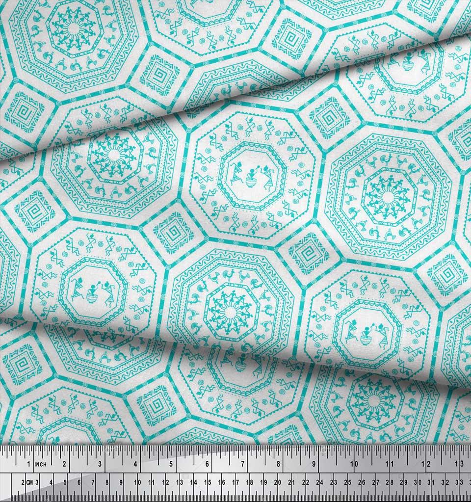 Soimoi-Green-Cotton-Poplin-Fabric-African-Tribal-Print-Sewing-Fabric-yHU thumbnail 4