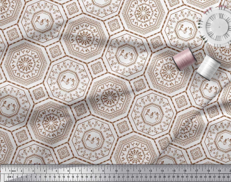 Soimoi-Brown-Cotton-Poplin-Fabric-African-Tribal-Printed-Fabric-daL thumbnail 3