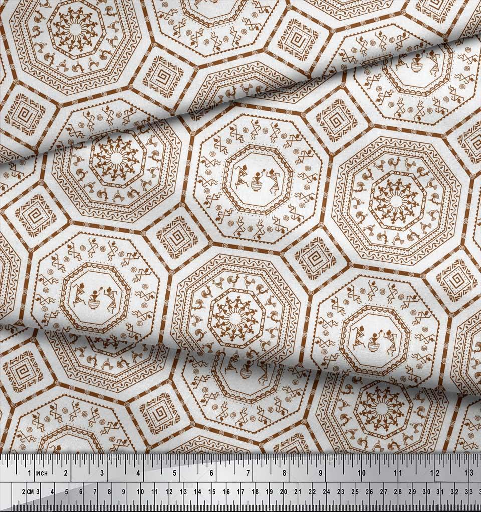 Soimoi-Brown-Cotton-Poplin-Fabric-African-Tribal-Printed-Fabric-daL thumbnail 4