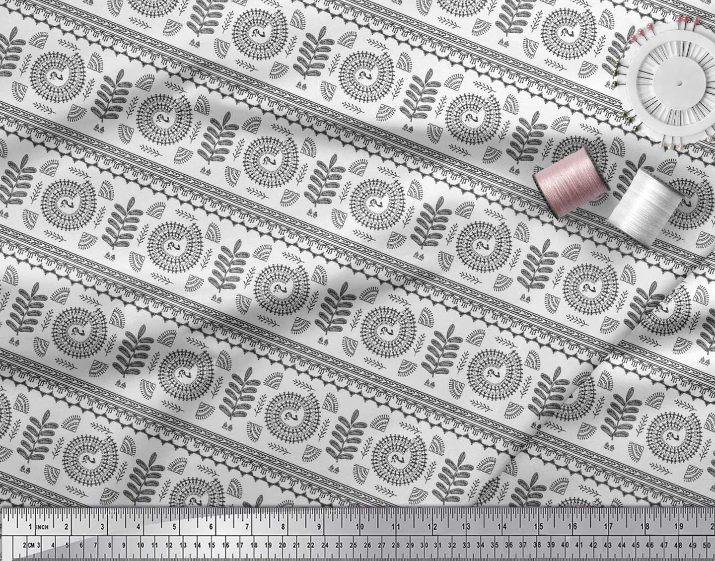 Soimoi-Black-Cotton-Poplin-Fabric-African-Tribal-Decor-Fabric-Printed-AVq thumbnail 3