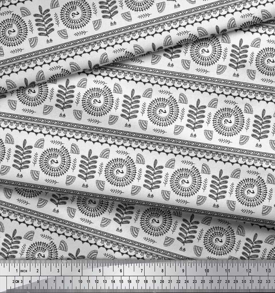 Soimoi-Black-Cotton-Poplin-Fabric-African-Tribal-Decor-Fabric-Printed-AVq thumbnail 4