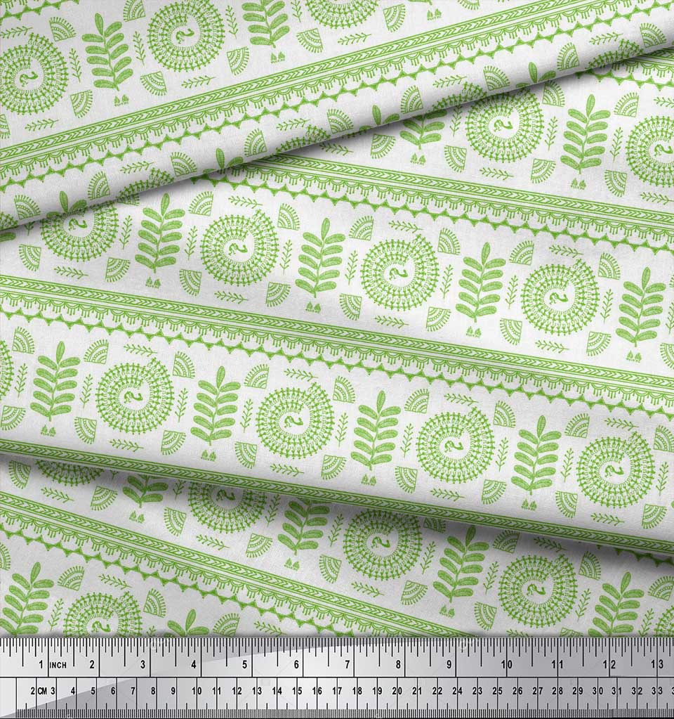 Soimoi-Green-Cotton-Poplin-Fabric-African-Tribal-Print-Sewing-Fabric-KHg thumbnail 3