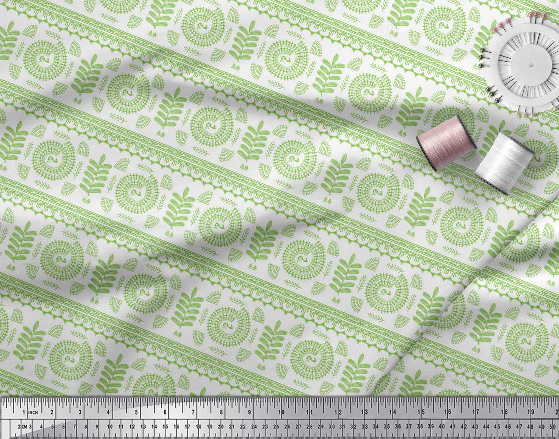 Soimoi-Green-Cotton-Poplin-Fabric-African-Tribal-Print-Sewing-Fabric-KHg thumbnail 4