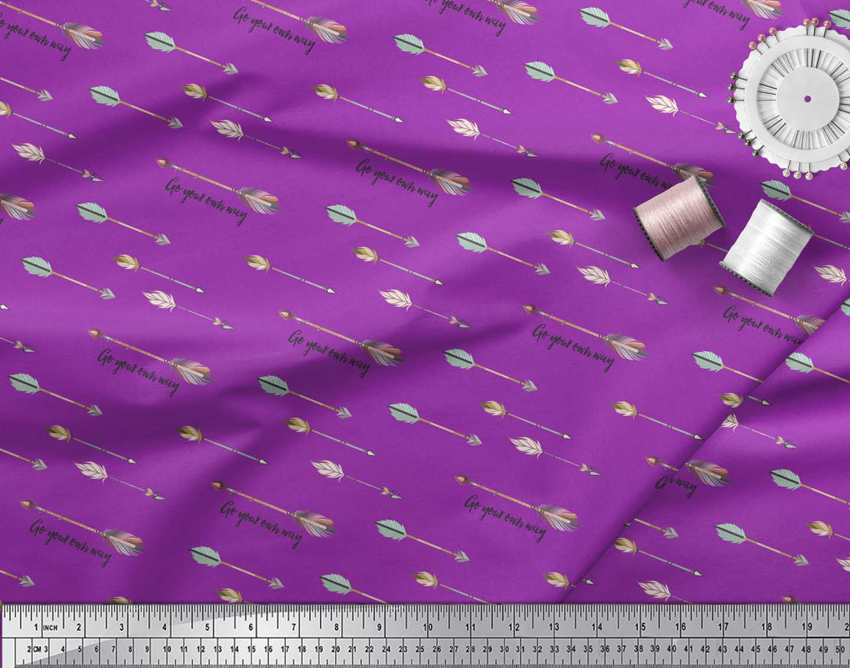 Soimoi-Purple-Cotton-Poplin-Fabric-Text-amp-Arrow-Tribal-Printed-Craft-AFB thumbnail 3