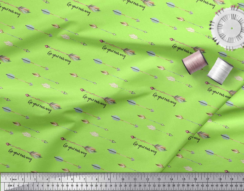 Soimoi-Green-Cotton-Poplin-Fabric-Text-amp-Arrow-Tribal-Printed-Fabric-ixj thumbnail 3