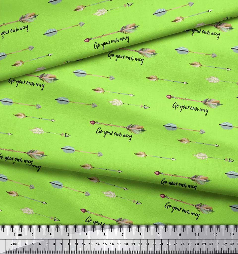 Soimoi-Green-Cotton-Poplin-Fabric-Text-amp-Arrow-Tribal-Printed-Fabric-ixj thumbnail 4