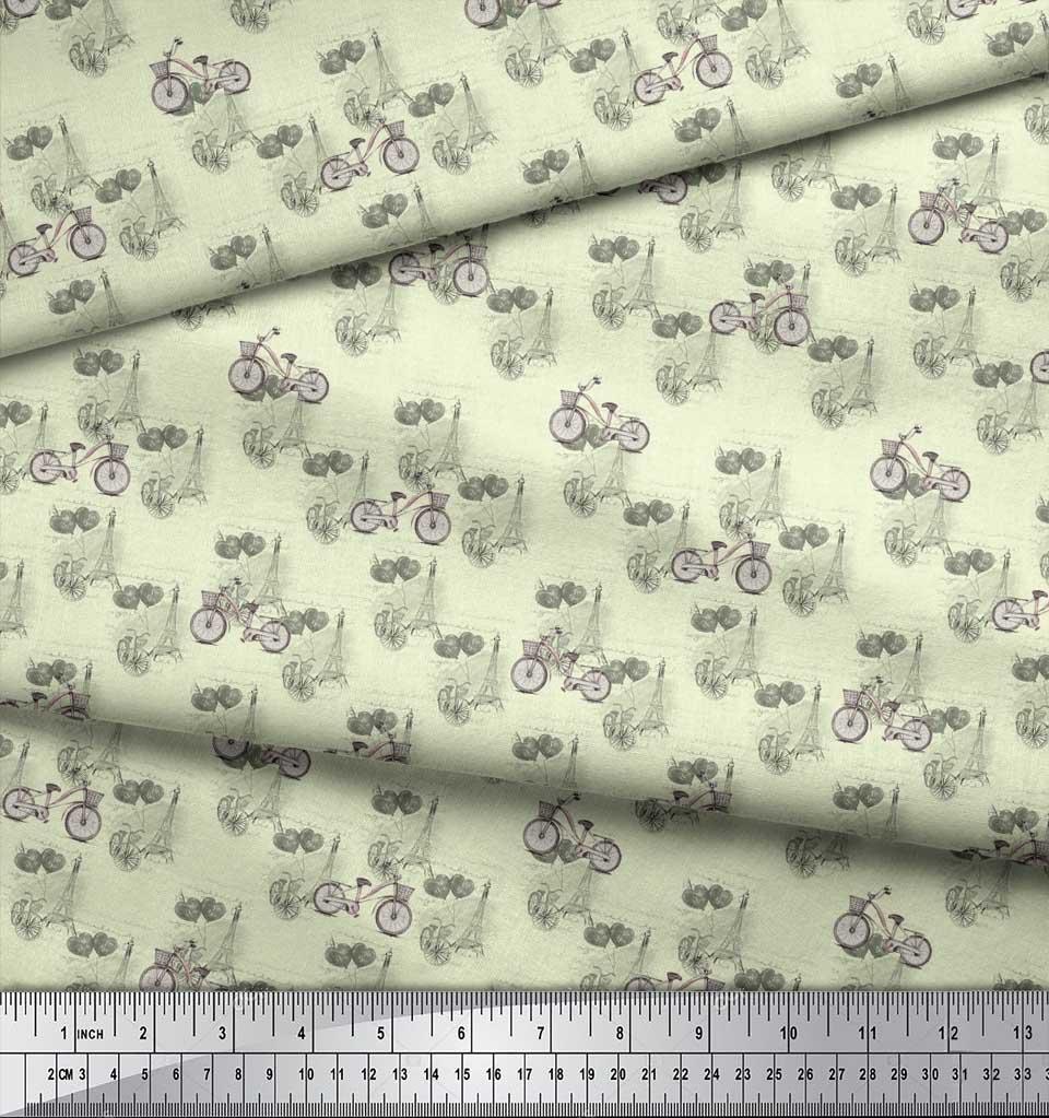 Soimoi-Yellow-Cotton-Poplin-Fabric-Bicycle-amp-Eiffel-Tower-Transport-lIb thumbnail 3