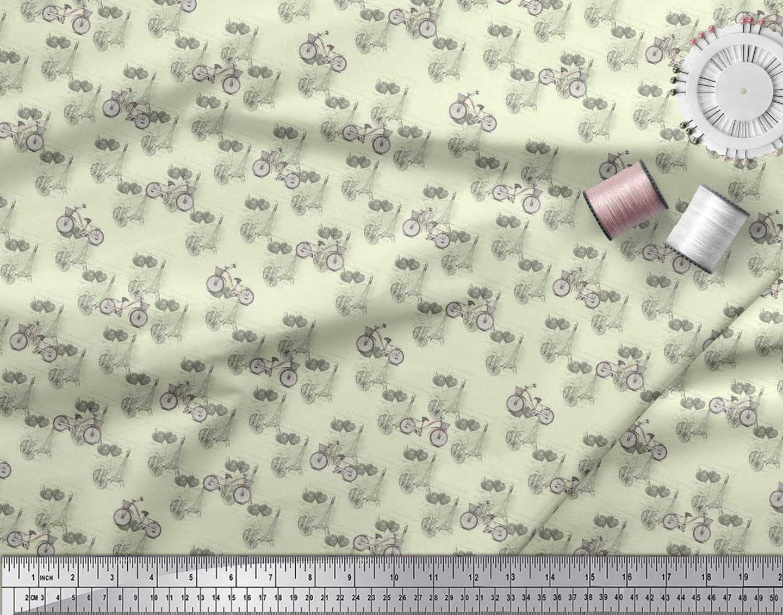 Soimoi-Yellow-Cotton-Poplin-Fabric-Bicycle-amp-Eiffel-Tower-Transport-lIb thumbnail 4