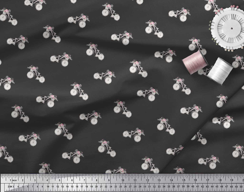 Soimoi-Black-Cotton-Poplin-Fabric-Floral-Girl-Bicycle-Transport-7f2 thumbnail 4