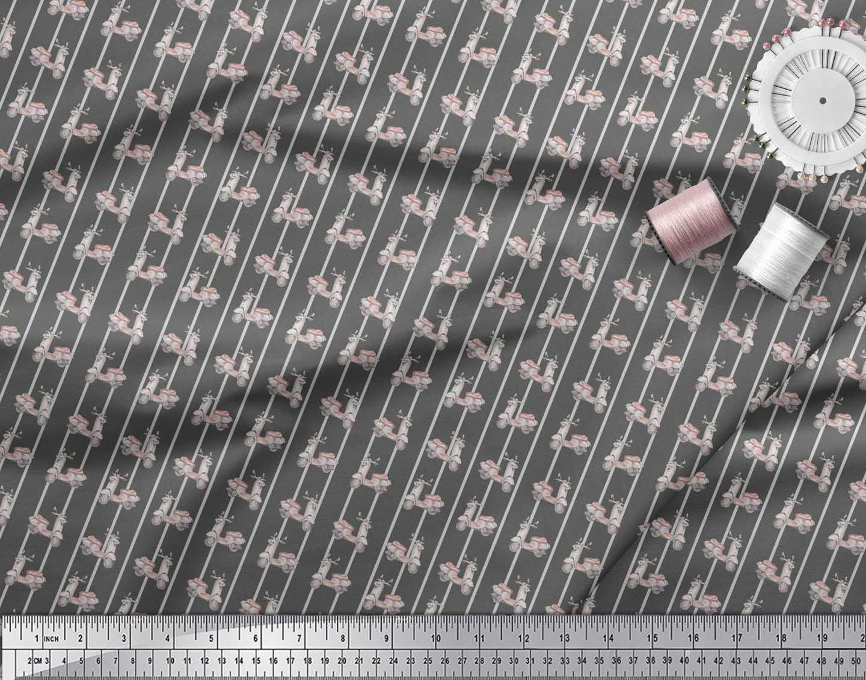 Soimoi-Gray-Cotton-Poplin-Fabric-Stripe-amp-Scooter-Transport-Print-Yub thumbnail 4