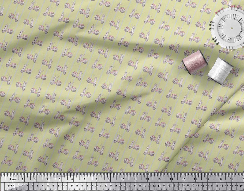 Soimoi-Beige-Cotton-Poplin-Fabric-Stripe-amp-Scooter-Transport-Print-7SC thumbnail 3