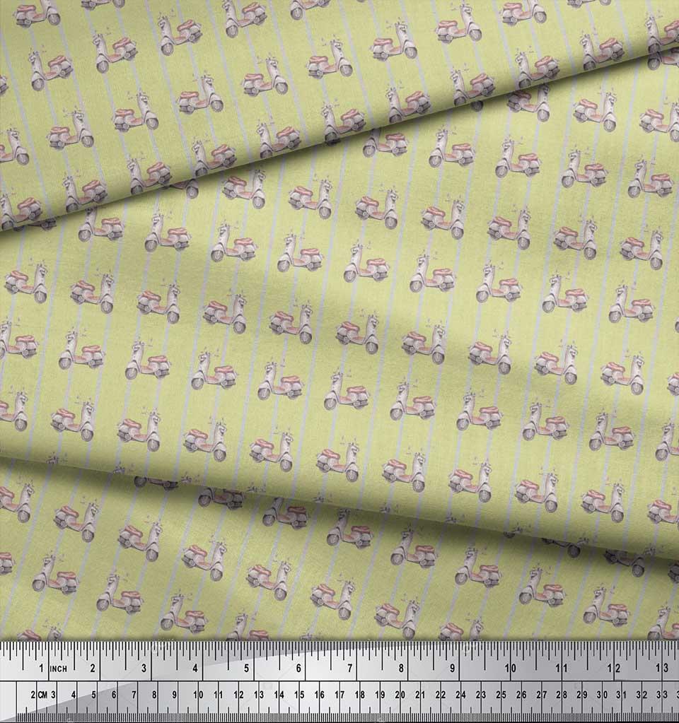 Soimoi-Beige-Cotton-Poplin-Fabric-Stripe-amp-Scooter-Transport-Print-7SC thumbnail 4