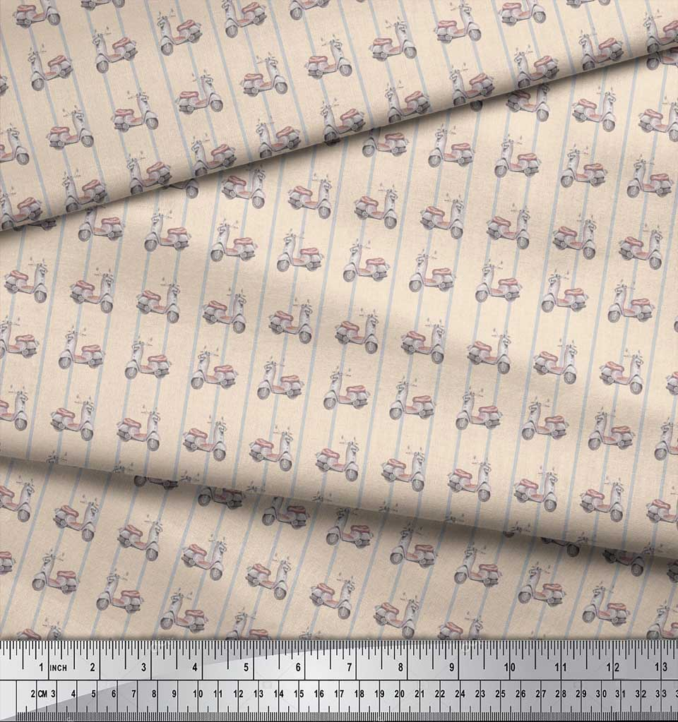Soimoi-White-Cotton-Poplin-Fabric-Stripe-amp-Scooter-Transport-Print-iWO thumbnail 4