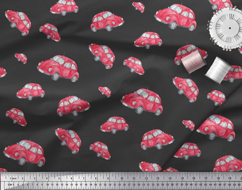 Soimoi-Black-Cotton-Poplin-Fabric-Car-Transport-Print-Fabric-by-5TQ thumbnail 3