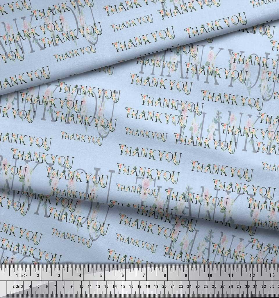 Soimoi-Blue-Cotton-Poplin-Fabric-Floral-Thankyou-Text-Fabric-Prints-cGE thumbnail 3