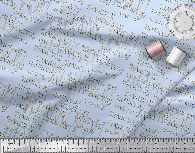 Soimoi-Blue-Cotton-Poplin-Fabric-Floral-Thankyou-Text-Fabric-Prints-cGE thumbnail 4